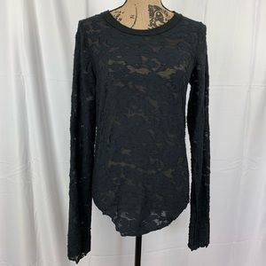 We The Free Lace Floral Sheer Long Sleeve Blouse L